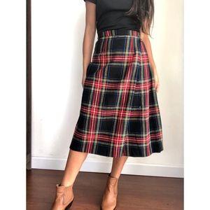 Vintage tartan plaid pleated midi wrap skirt W25